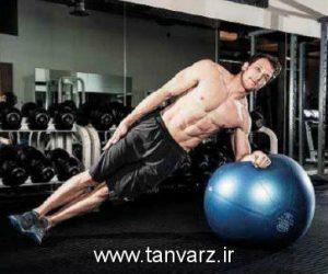 پلانک پهلو با توپ ورزشی